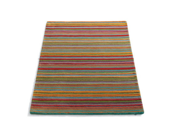 """Grandin Road - Skyland Stripe Indoor Area Rug - 2'3"""" x 8' - Bright and happy hues of nearly every color under the sun, for bringing new life to a variety of decorative themes. Masterfully hand-tufted, with a lush and inviting pile of 100% wool. Cotton backing. 3/8"""" thick. Nonslip Rug Grips available separately. Our Hand-tufted Skyland Stripe Rug's multi-faceted personality makes it perfect for when no other floor covering seems to fit.  .  .  . .  . Imported."""