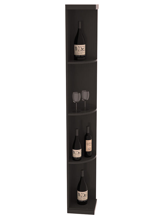Quarter Round Wine Display in Pine with Black Stain + Satin Finish - Highly decorative Quarter Round Wine Displays are the perfect solution to racking around corners. Designed with a priority on functionality, these wine storage units are excellent as end caps to walls of wine racking or as standalone shelving.