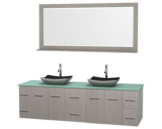Wyndham Collection - 80 in. Double Bathroom Vanity in Gray Oak, Green Glass Countertop, Altair Black - Simplicity and elegance combine in the perfect lines of the Centra vanity by the Wyndham Collection . If cutting-edge contemporary design is your style then the Centra vanity is for you - modern, chic and built to last a lifetime. Available with green glass, pure white man-made stone, ivory marble or white carrera marble counters, with stunning vessel or undermount sink(s) and matching mirror(s). Featuring soft close door hinges, drawer glides, and meticulously finished with brushed chrome hardware. The attention to detail on this beautiful vanity is second to none.