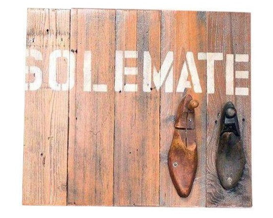 Pre-owned Solemate Original Art - We finally found our solemate. This original art piece is functional and full of vintage charm. The art is finished in acrylic on beautiful reclaimed barn wood with antique wooden cobblers lasts. Use it as a coat rack or simply as a work of art!