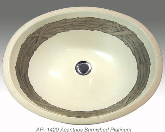 "Hand Painted Undermounts by Atlantis Porcelain - ""ACANTHUS"" Shown on AP-1420 biscuit Monaco Medium undermount 17-1/4""x14-1/4"".Available on burnished gold or platinum and bright gold or platinum on any of our sinks."