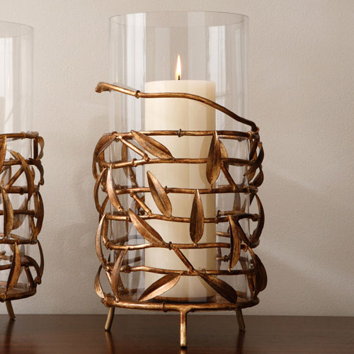 Gold Bamboo Wrap Hurricane Vase modern candles and candle holders
