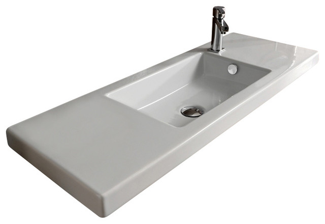 Rectangular White Ceramic Wall Mounted Vessel Or Built In Sink No Hole Contemporary