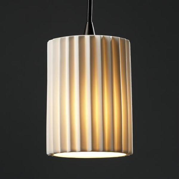 Justice Design POR-8815-10-BANL-DBRZ One Light Bronze Drum Shade Mini Pendant pendant-lighting