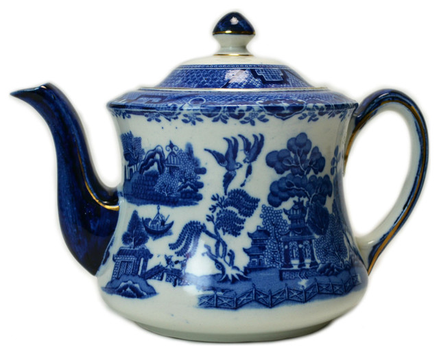 Consigned Porcelain Teapot in Blue & White by S Hancock & Sons, Vintage English traditional-teapots