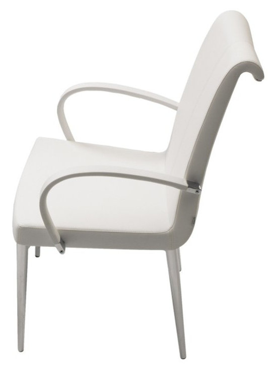 """Tulip Armchair by sohoConcept - Tulip is an elegant dining chair with a comfortable upholstered seat and backrest on chromed steel tube legs which are plastic tipped. The curved backrest is trimmed with a chromed steel part that makes the chair look more elegant. The seat has a steel structure with """"S"""" shape springs for extra flexibility and strength. This steel frame molded by injecting polyurethane foam. Tulip seat is upholstered with a removable velcro enclosed leather, PPM or wool fabric slip cover. The chair is suitable for both residential and commercial use."""