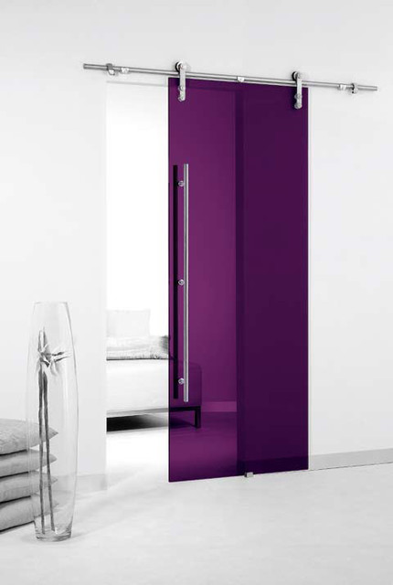 Colored Glass Barn Sliding Door contemporary-windows-and-doors