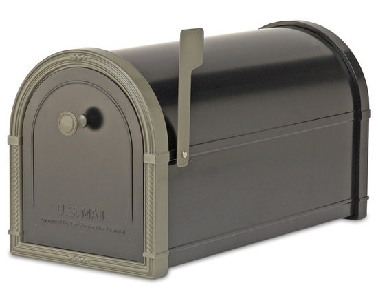 """Architectural Mailboxes - Bellevue Post Mount Mailbox Black with Bronze Accents - """"Neither rain nor snow… """" You can count on this good looking mailbox to keep your incoming mail secure from the elements for many years to come."""