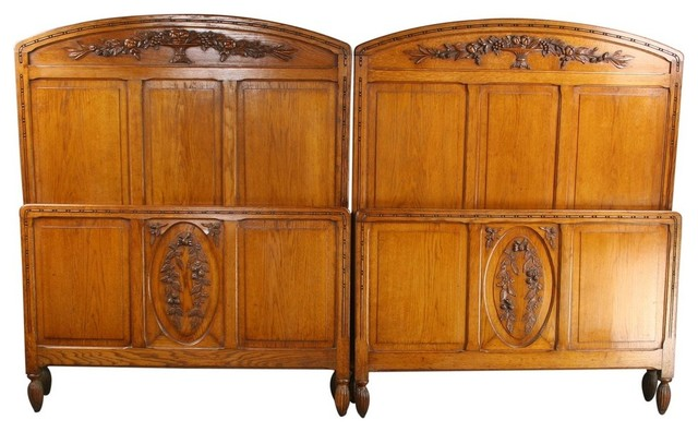 Pair Consigned Antique Art Deco Beds 1920 France 2 midcentury-beds