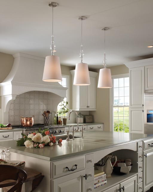Modern White Kitchen With Island And Pendant Lights: Kiev Pendant With White Shade And Clear Fount