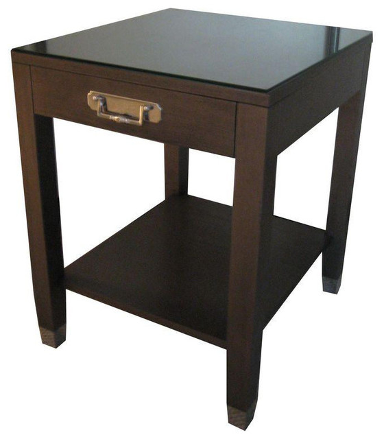 Side table traditional dark wood nickel hardware 1 000 for Black wood side table