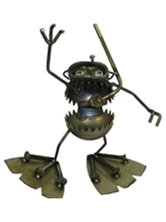 Hanging Scuba Diver - Fun, funky, and always very unique, Fred Conlon's award-winning metal art has appeared in art festivals across the nation. Handmade mostly from recycled material, factory seconds and stuff found in the scrap yard, each piece is unique and one of a kind.