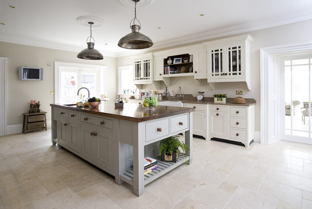 Free standing painted country kitchen traditional for Traditional painted kitchens