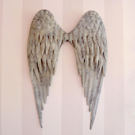 lovely distressed metal angel wings in grey With kitchen cabinets lowes with metal angel wings wall art
