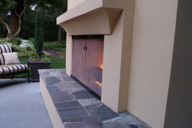 Outdoor Fireplace Screen Traditional portland by