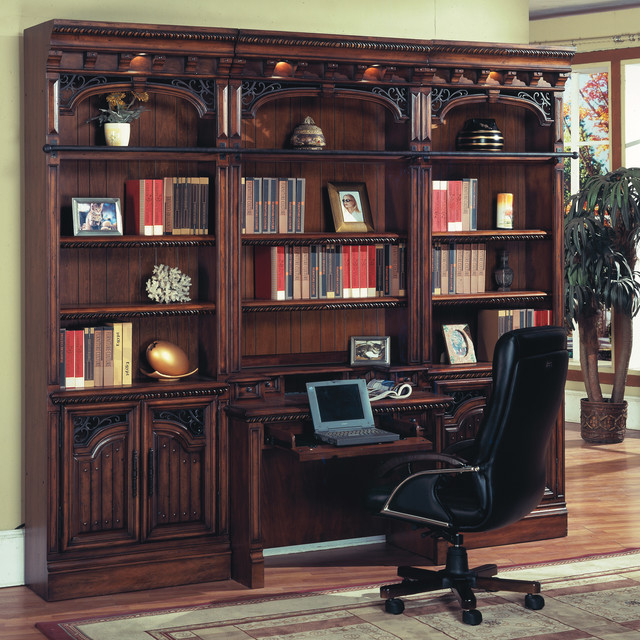 Barcelona Library Hutch & Desk w/ Ladder in Antique Walnut - Traditional - Bookcases - other ...