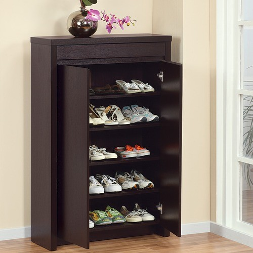 Enitial Lab 10340 Hess Studio 5-Shelf Shoe Cabinet in Red Cocoa Finish - Modern - Closet Storage ...