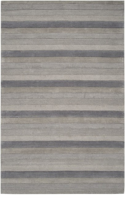 Solid/Striped Mystique 8'x11' Rectangle Gray-Blue Gray  Area Rug modern-rugs