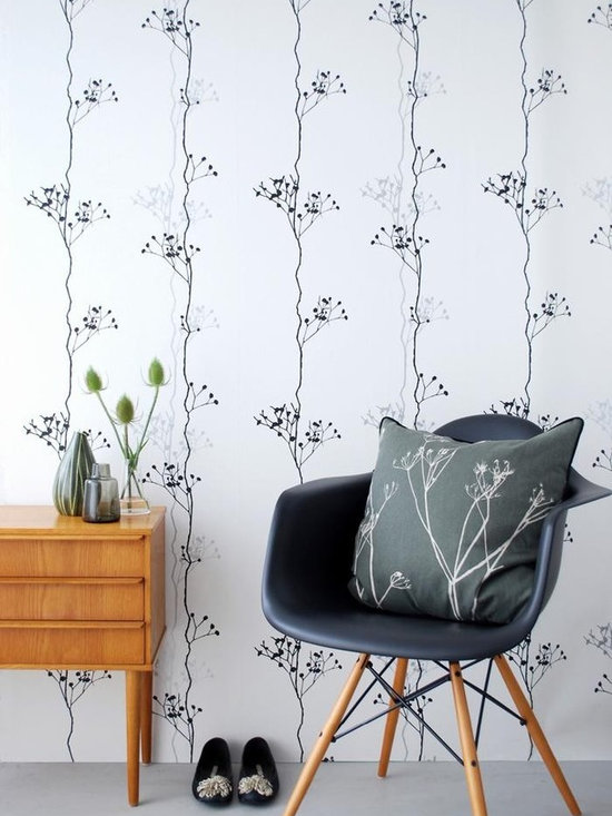 Ferm Living Berry Black Wallpaper - Ferm Living's Wallpaper is graphic & whimsical adding character, charm and personality to any room. Wallpaper has a striking effect and will without a doubt turn your room into a sanctuary.