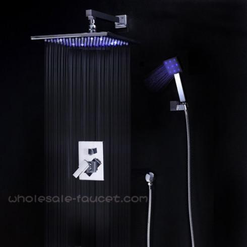 "Single Handle Shower Trim Kits With 12"" LED Rain Shower Head AL-012 modern-showerheads-and-body-sprays"