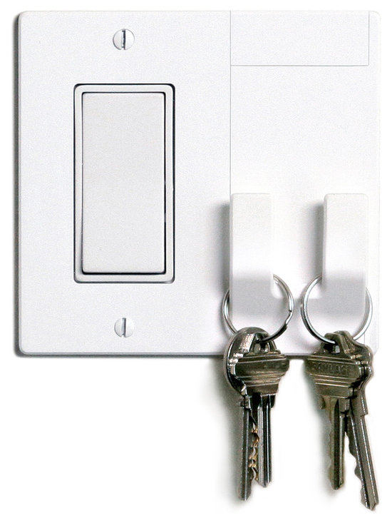 """Walhub - Walhub Light Switch Plate With Hooks - This is one of those times when you say, """"Why didn't I think of that?"""" The underutilized light switch plate finally has another purpose. Incorporated into its design are two hooks that can store your keys, umbrella or purse. Simple and yet brilliant."""