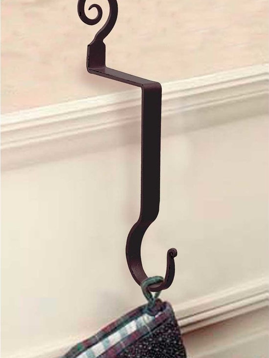 "Renovators Supply - Stocking Holders Black Iron Hanger Pigtail Stocking Holder 10"" H - Stocking Hanger. Wrought iron stocking mantle holders, a terrific way to display holiday stockings & bring JOY & CHEER to your home. STOP using nails or tacks on your mantle, rather use this handy damage-FREE stocking holder. RSF powder coating protects this hanger for year to come. A GREAT gift idea too! Use this holder year round to display dried flowers & Easter baskets!"