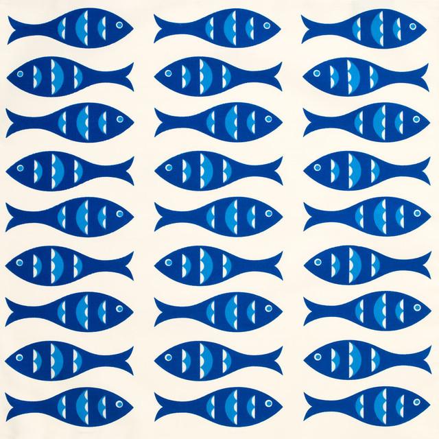 Blue Fish Eco Napkins, Sapphire Blue/Cream, Set of 4 beach-style-napkins