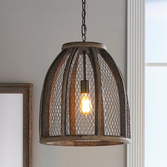 Large Chicken Wire Pendant - Pendant Lighting - by Shades of Light