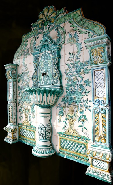 Hand Painted Tile Fountains mediterranean-outdoor-fountains-and-ponds