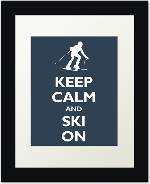 Keep Calm and Ski On, Navy modern artwork