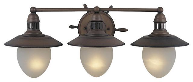 Coastal Bath Vanity Lights : Orleans Antique Copper 3 Light Vanity - Coastal - Bathroom Vanity Lighting