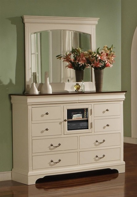 Renaissance 2 Pc Glass Door Dresser w Beveled traditional-dressers-chests-and-bedroom-armoires