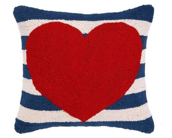 PHI - PHI Red Heart Navy Striped Pillow - Square pillow by PHI