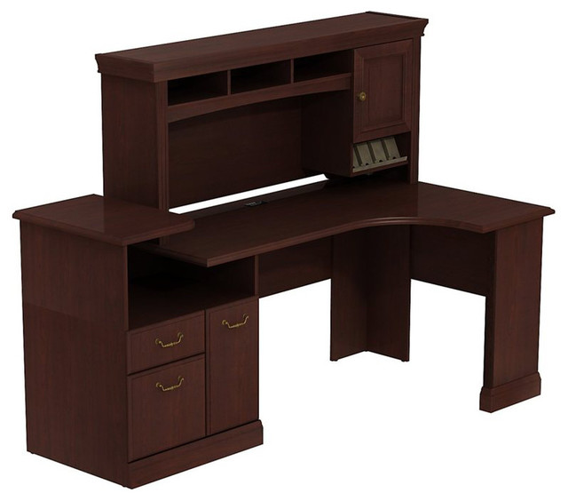 Bush Syndicate Expandable Corner Desk with Hutch in Harvest Cherry transitional-desks