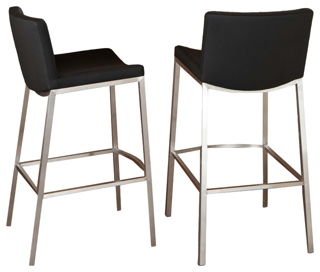 Bartolli Black Bar Stools Set Of 2 Modern Stools