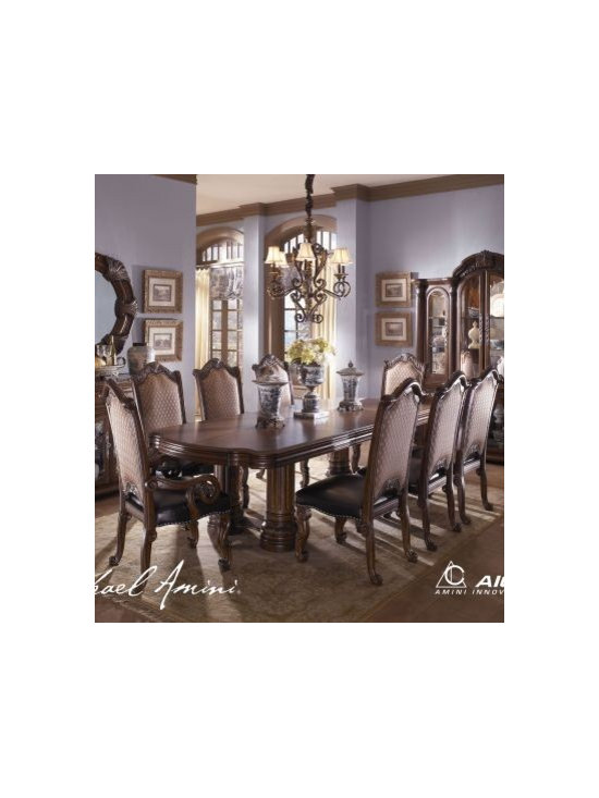 "AICO Furniture - 9-pc Monte Carlo II Rectangular Dining Table Set (cafe noir) - - (2) 24"" Leaves"