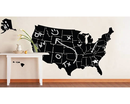 Writable wall decals - This wall decal is both decorative and functional. Display the map of  the United States on your wall - write whatever you want in any of the 50 States: perhaps places you've been or wish to visit? Or even teach your little one some geography? The wall is the limit!