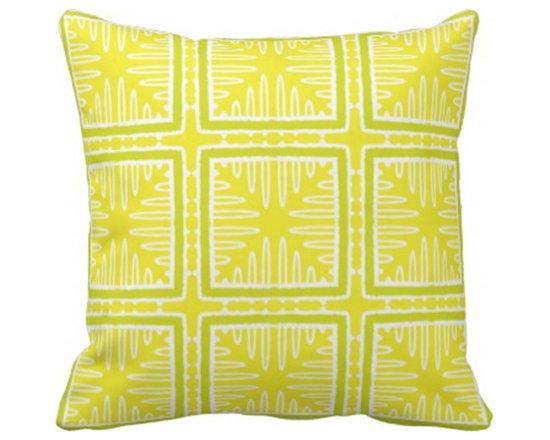 """Lemon Sorbet"" Geometric Accent Pillow -"