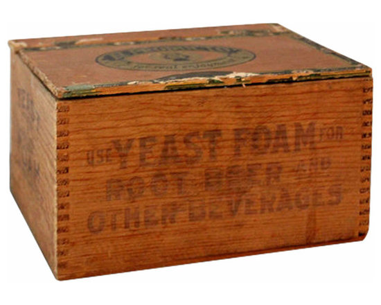 Lidded Wooden Crate - Charming vintage yeast foam crate that was fashioned into a small storage box. Lid is made from a vintage cigar box.