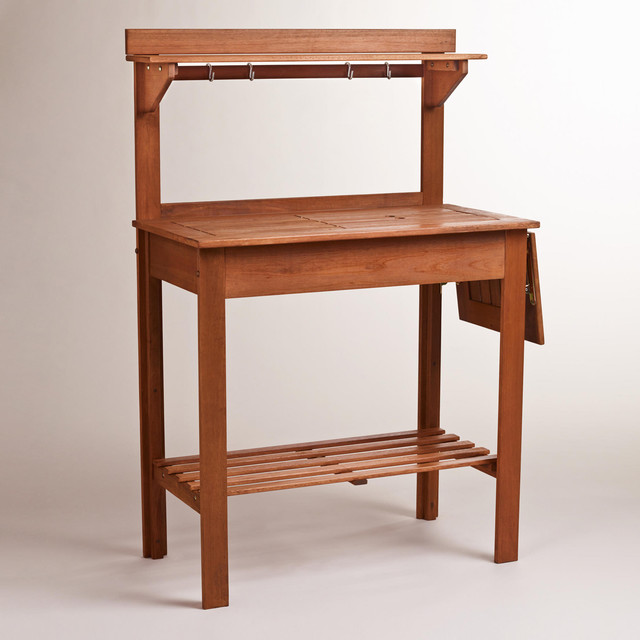 Natural Wood Potting Bench Traditional Gardening Tools