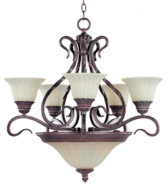 Seven Light Greek Bronze Soft Vanilla Glass Up Chandelier tropical-chandeliers