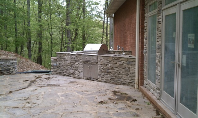 Stacked Stone Outdoor Fireplace Kitchen Rustic Exterior