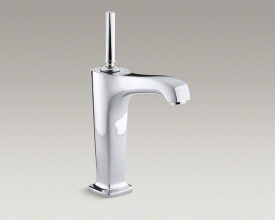 KOHLER Polished Chrome Margaux® Tall Single-hole Bathroom Sink Faucet With Lever - Bring minimalist style to your bathroom with this Margaux sink faucet. With its fluid lines and sleek, extra-tall design, this faucet reveals a versatile look that matches a variety of decors. It features a convenient touch-activated drain and tailpiece as well as laminar flow, which helps conserve water while preventing splashing.