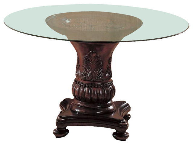 Coaster Tabitha Traditional Round Dining Table With Glass