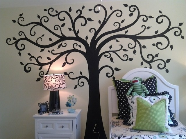 Swirl Tree Decal Contemporary Kids Wall Decor