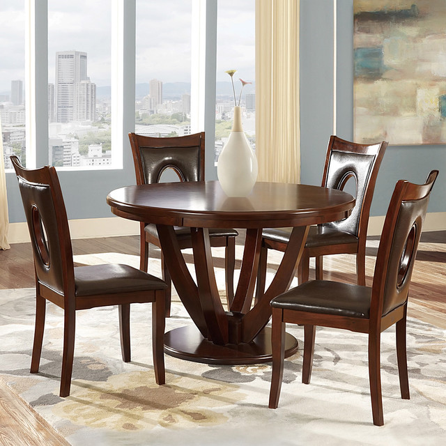 Miraval 5 Piece Cherry Brown Round Dining Set Contemporary Dining Sets