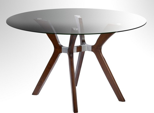 Imports Luisa 48 Inch Round Dining Table W Glass Top Dining Tables