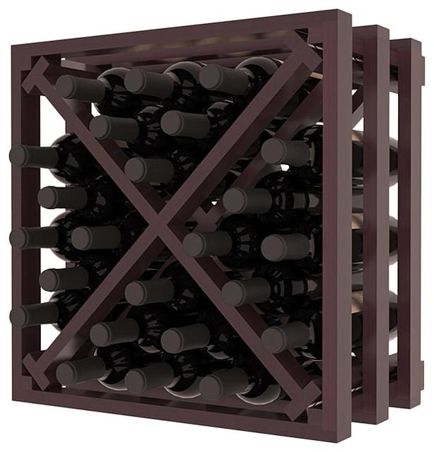 Lattice Stacking X Wine Cube in Premium Redwood, Burgundy + Satin Finish contemporary-wine-racks