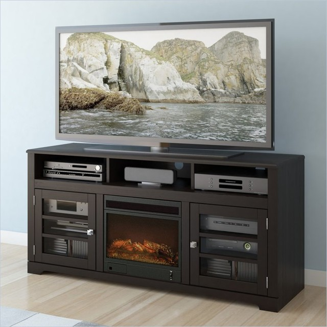 Sonax West Lake 60 Fireplace Tv Stand In Mocha Black Indoor Fireplaces Vancouver By Cymax