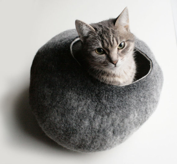 Warm Gray Stone Hand Felted Wool Cat Bed/Vessel by Vaiva Nat contemporary pet beds